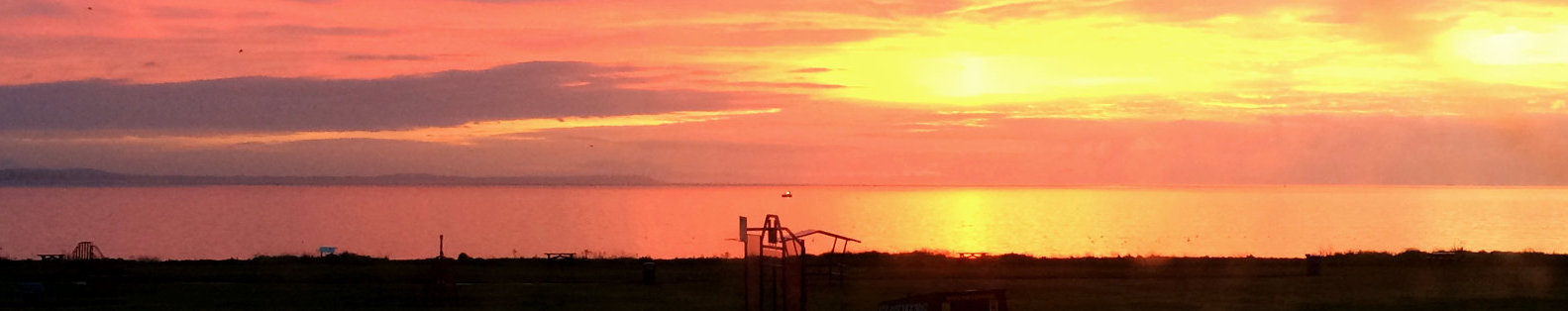 Sunsent over the sea near Wigtown, Galloway